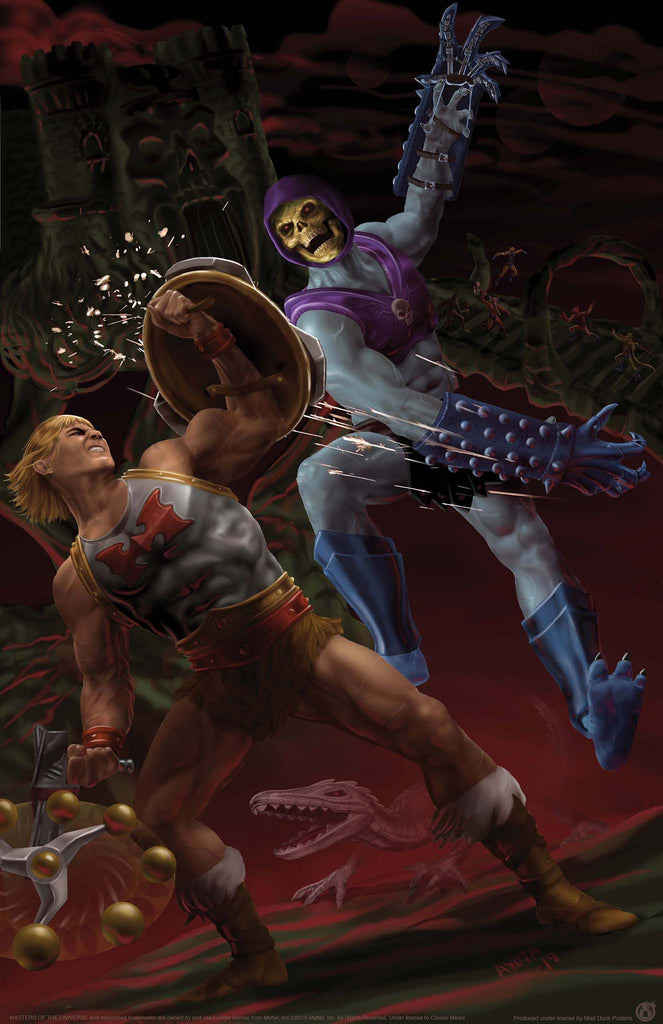 Flying Fists He-Man vs Terror Claws Skeletor - Mad Duck Posters