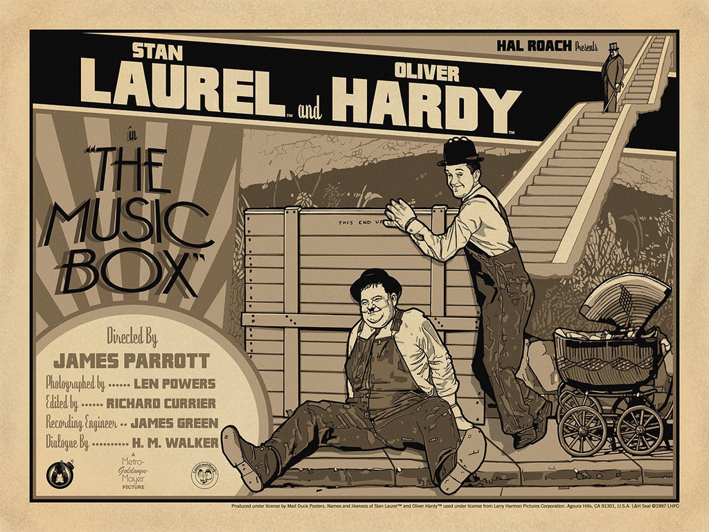 Laurel & Hardy The Music Box - Vintage Variant - Mad Duck Posters