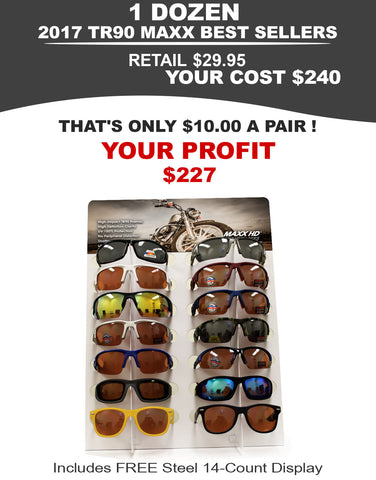 Motorcycling Sunglasses Package - 1 Dozen