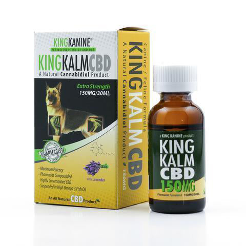 King Kalm 150MG CBD Pet Formula works for dogs, cats, canines, and felines.