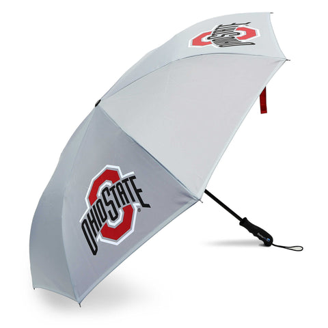 Gray Reversible Umbrella with red block O Ohio State team logos.