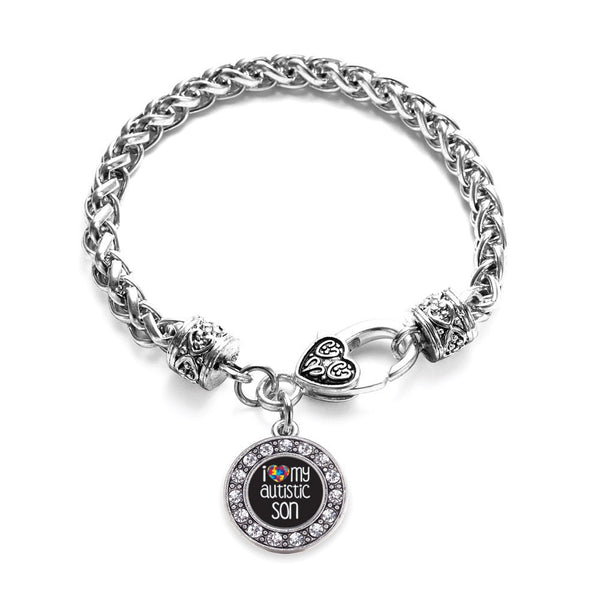 I Love My Autistic Son Circle Charm Braided Bracelet