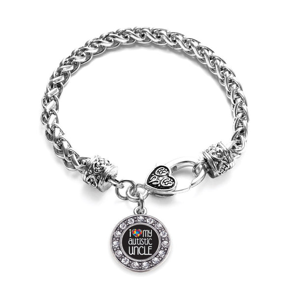 I Love My Autistic Uncle Circle Charm Braided Bracelet