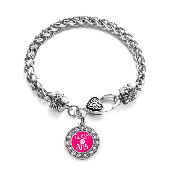 Hot Pink Class of 2015 Circle Charm Braided Bracelet