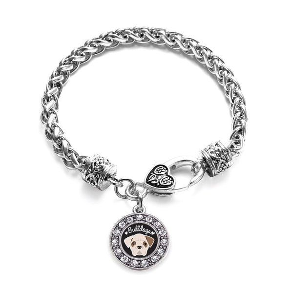 Bulldog Lover Circle Charm Braided Bracelet