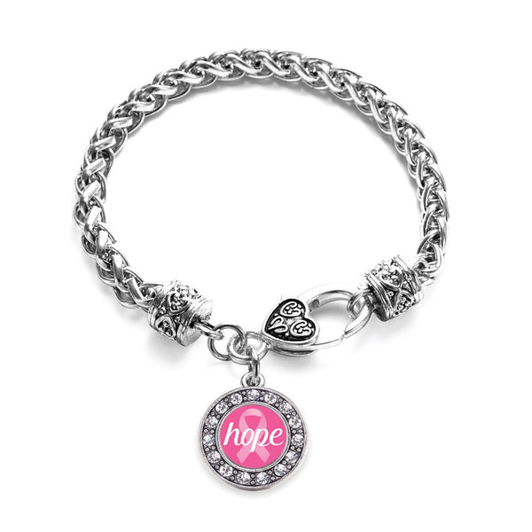Hope Ribbon Breast Cancer Awareness Circle Charm Bracelet