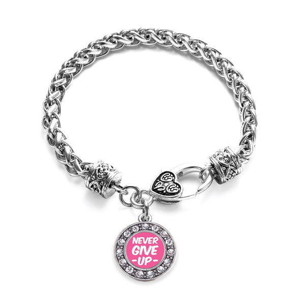 Never Give up Breast Cancer Awareness Circle Charm Bracelet