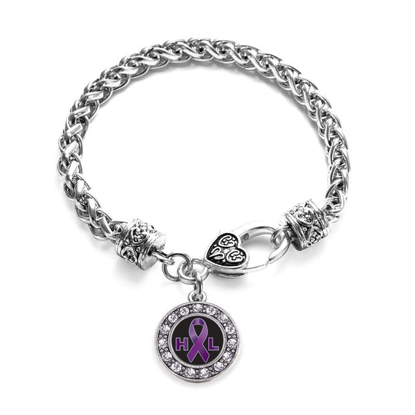Hodgkin's Lymphoma Support Circle Charm Braided Bracelet