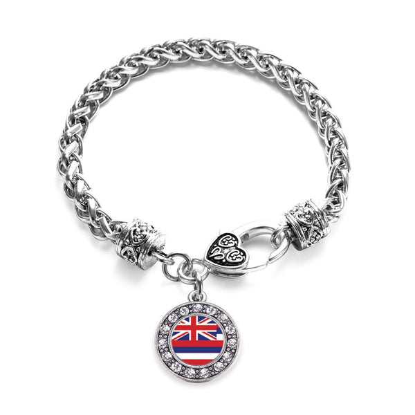 Hawaii Flag Circle Charm Braided Bracelet