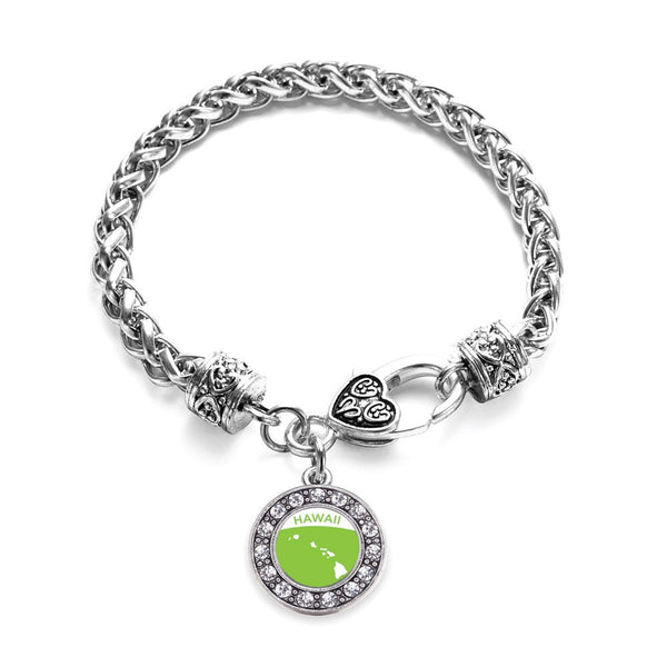 Hawaii Outline Circle Charm Braided Bracelet