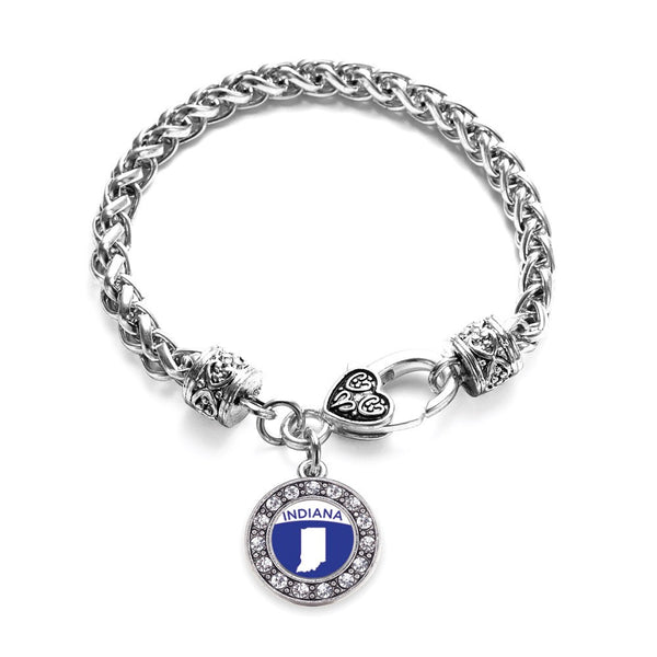 Indiana Outline Circle Charm Braided Bracelet