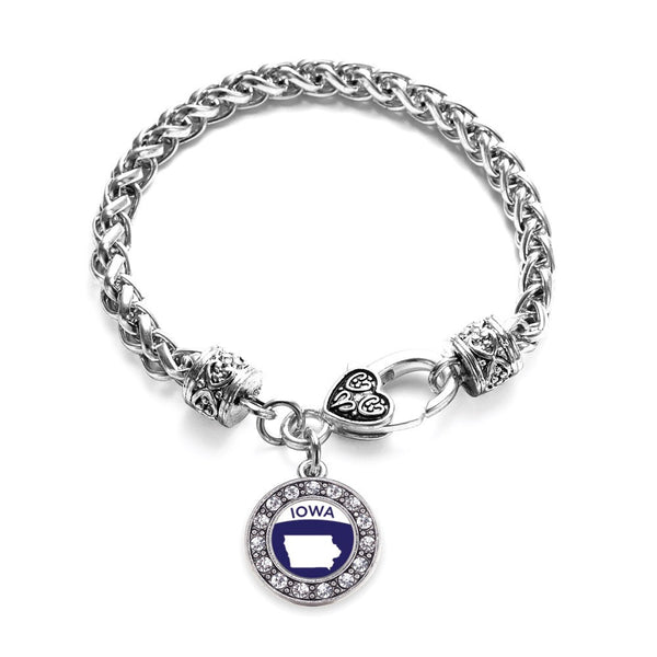 Iowa Outline Circle Charm Braided Bracelet