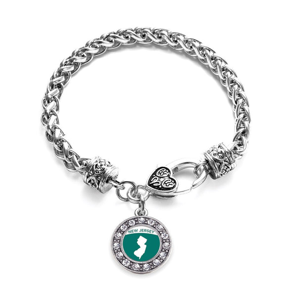 New Jersey Outline Circle Charm Braided Bracelet