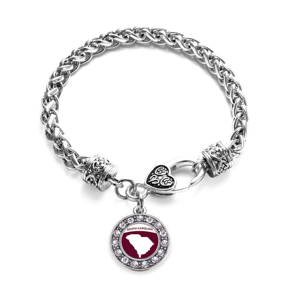 South Carolina Outline Circle Charm Braided Bracelet