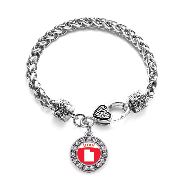 Utah Outline Circle Charm Braided Bracelet