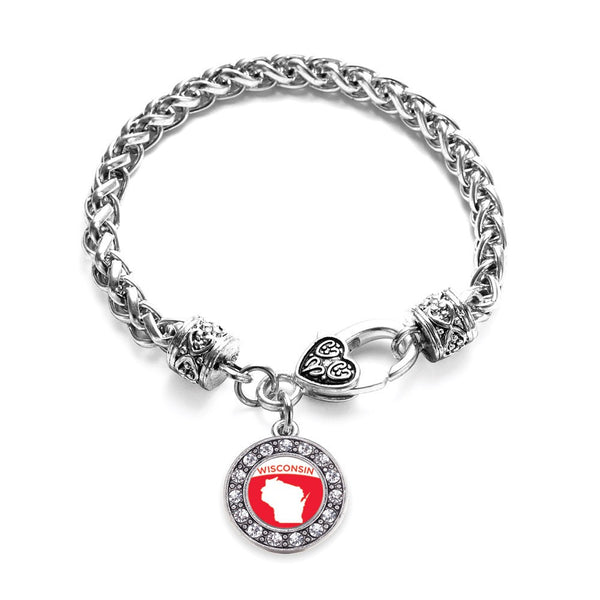 Wisconsin Outline Circle Charm Braided Bracelet