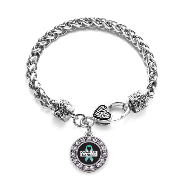 Ovarian Cancer Circle Charm Braided Bracelet