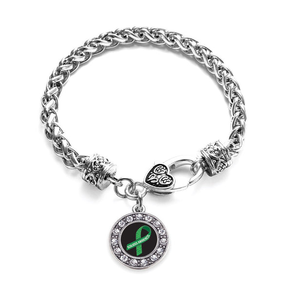 Scoliosis Awareness Circle Charm Braided Bracelet