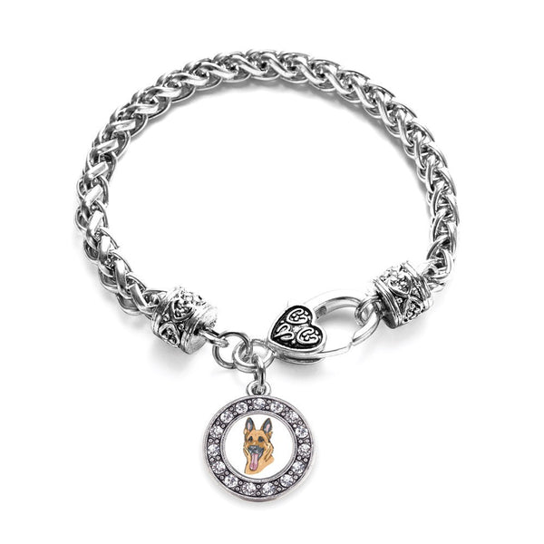 The German Shepherd Circle Charm Braided Bracelet