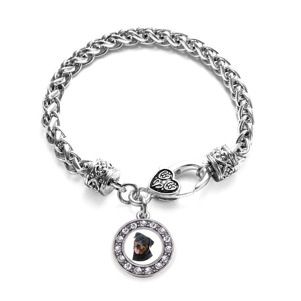 The Rottweiler Circle Charm Braided Bracelet