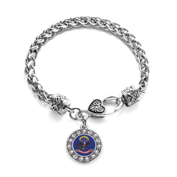 North Dakota Flag Circle Charm Braided Bracelet