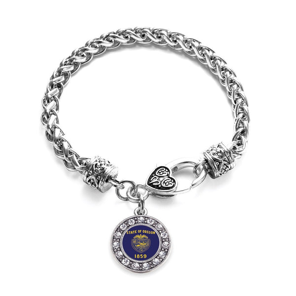 Oregon Flag Circle Charm Braided Bracelet