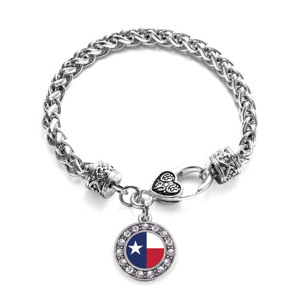 Texas Flag Circle Charm Braided Bracelet