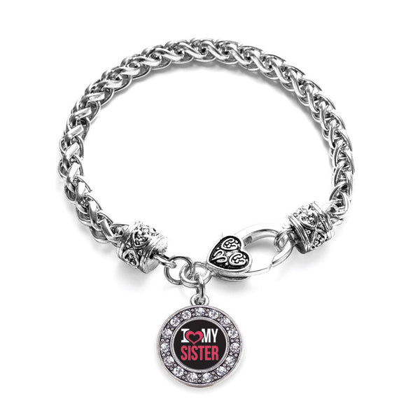 I Love My Sister Circle Charm Braided Bracelet