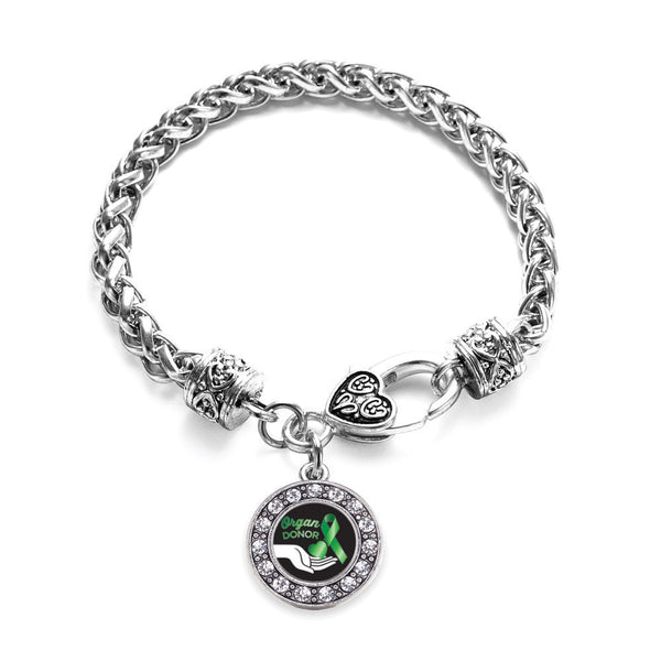 Organ Donor Circle Charm Braided Bracelet