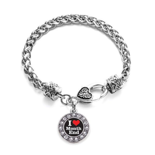 I Love Months End Accountant Circle Charm Braided Bracelet