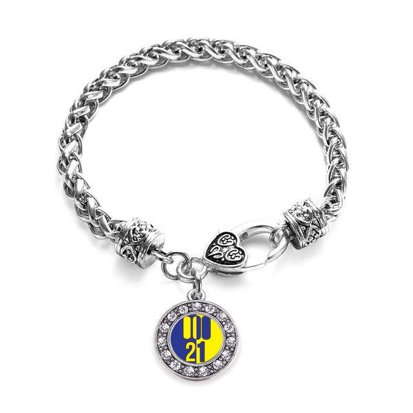 Chromosome 21 Circle Charm Braided Bracelet