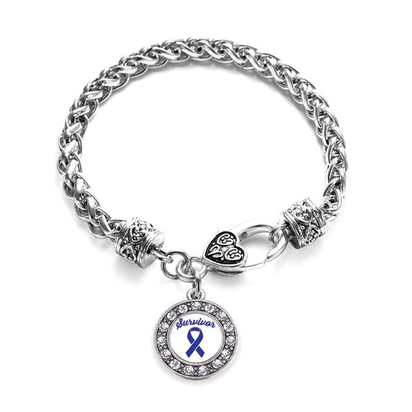 Blue Ribbon Survivor Circle Charm Braided Bracelet