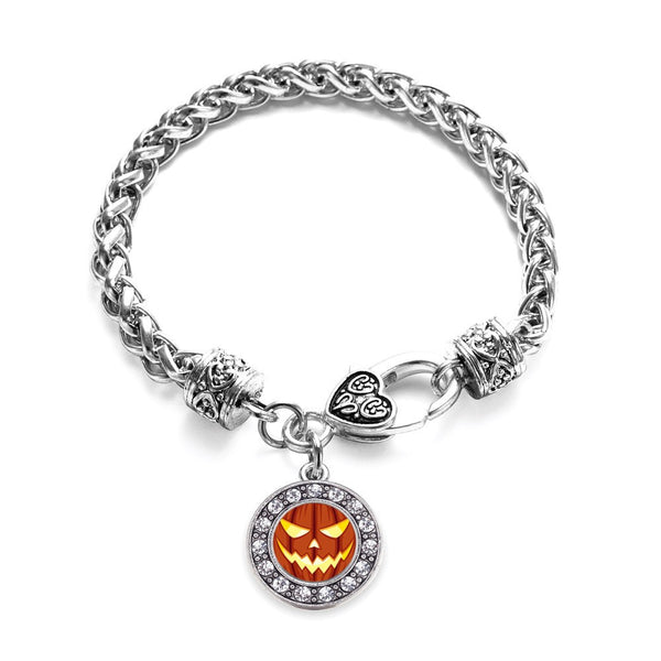 Grinning Pumpkin Circle Charm Braided Bracelet