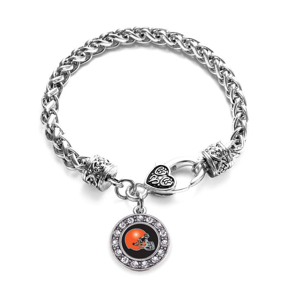 Black and Orange Team Helmet Circle Charm Braided Bracelet