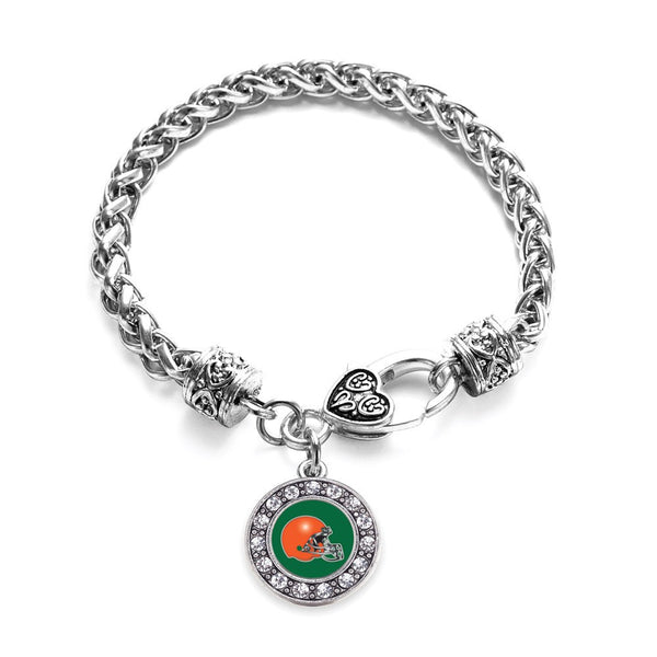 Green and Orange Team Helmet Circle Charm Braided Bracelet