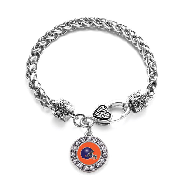 Orange and Blue Team Helmet Circle Charm Braided Bracelet
