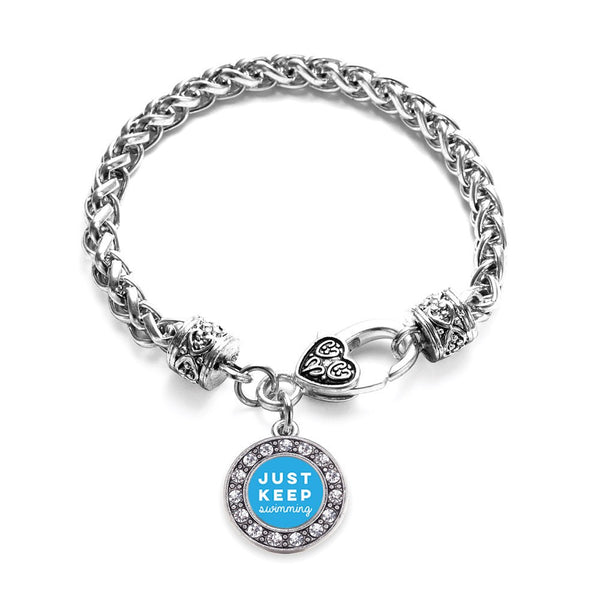 Just Keep Swimming Circle Charm Braided Bracelet