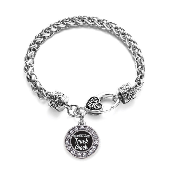 World's Best Track Coach Circle Charm Braided Bracelet
