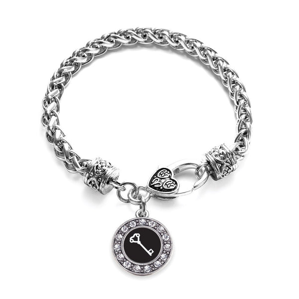 Heart Shaped Key Circle Charm Braided Bracelet
