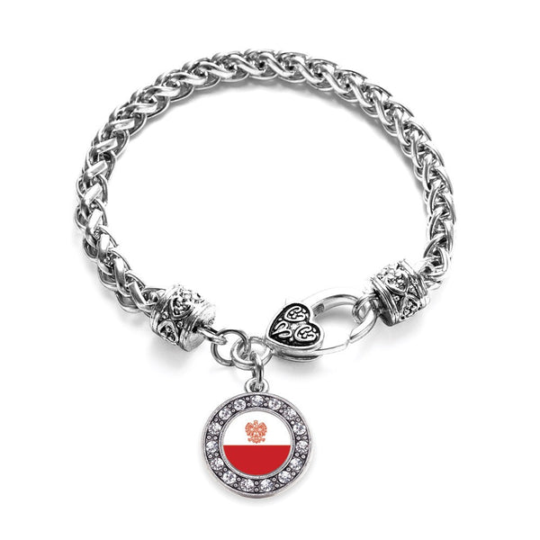 Polish Flag Circle Charm Braided Bracelet