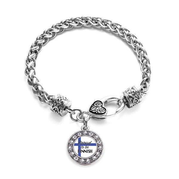 Proud to be Finnish Circle Charm Braided Bracelet