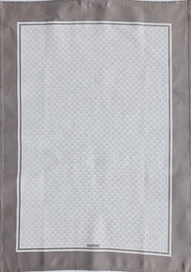Tea Towel Scallop White on Warm Grey