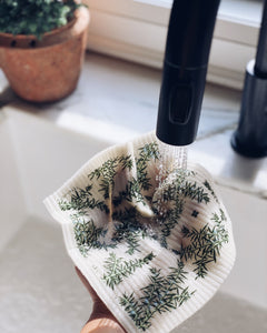 Juniper Greens on White Sponge Cloth
