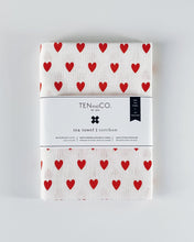 Load image into Gallery viewer, Tea Towel Tiny Hearts Bright Red