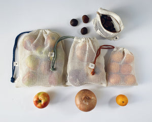 Produce Bags: Set of 3 Plus Zipped Pouch