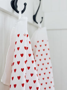Tea Towel Tiny Hearts Bright Red