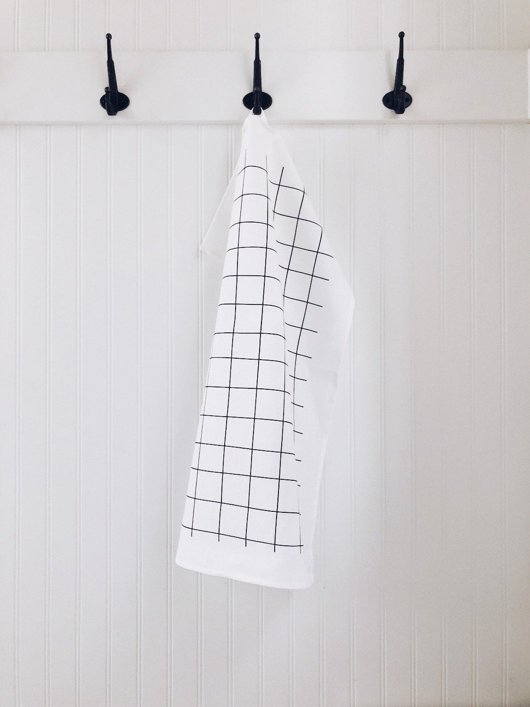 Tea Towel Grid (Black on White)