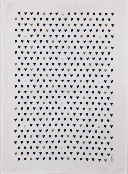 Tea Towel Tiny Hearts (Black/Gold on White)