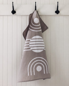 Tea Towel Arc White on Grey
