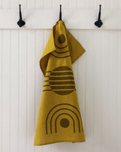 Load image into Gallery viewer, Tea Towel Arc Ochre on Yellow